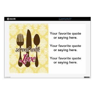 "Country Kitchen- Utensils on damask floral. 17"" Laptop Skins"