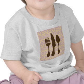 Country Kitchen -  Utensils on damask floral. T Shirts