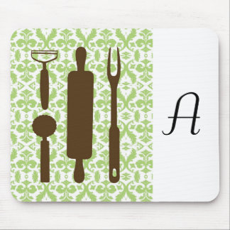 Country Kitchen - Utensils on damask. Mouse Pad