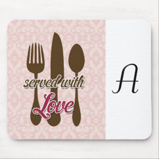 Country-Kitchen-Utensils on floral damask. Mouse Pad