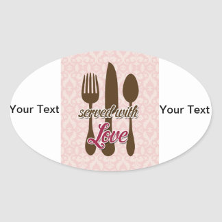 Country-Kitchen-Utensils on floral damask. Oval Sticker