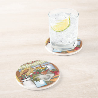 Country Kitchen Window, Rooster Coaster