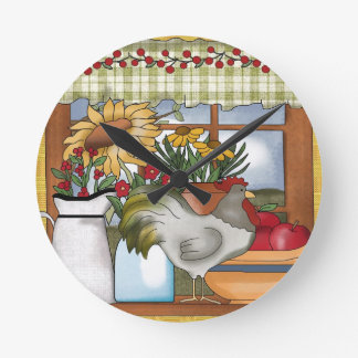 Country Kitchen Window, Rooster Wall Clock