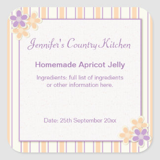 Country Kitsch Purple & Peach Stripe Food Stickers