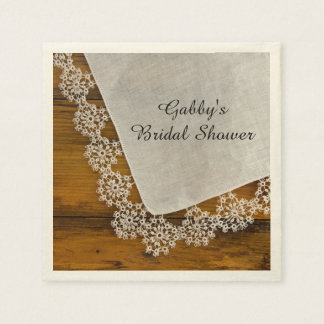 Country Lace and Barn Wood Bridal Shower Paper Napkin