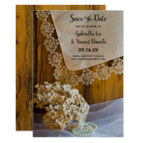 Country Lace and Barn Wood Wedding Save the Date Invitation