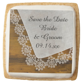 Country Lace and Barn Wood Wedding Save the Date Square Shortbread Cookie