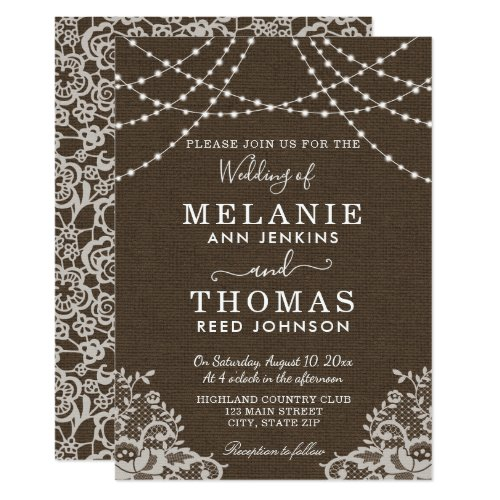 Country Lace and Burlap Wedding Invitation, Rustic Invitation
