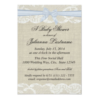 Country Lace and Burlap with Baby Blue Bow Shower Card