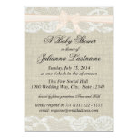 Country Lace and Burlap with Pink Bow Shower 5x7 Paper Invitation Card