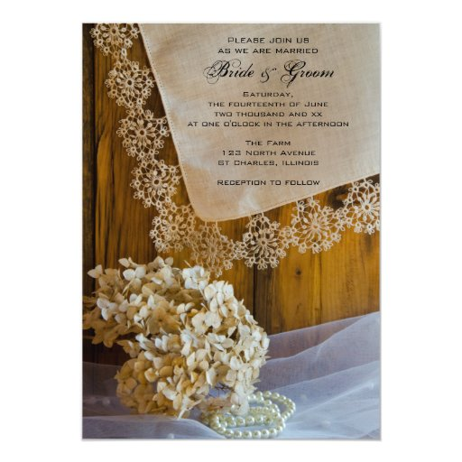 Country Lace and Flowers Barn Wedding Invitation