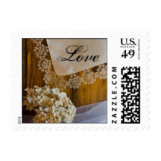 Country Lace and Flowers Barn Wedding Love Postage Stamp