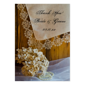 Country Lace and Flowers Wedding Favor Tags Large Business Card