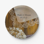 Country Lace and Flowers Wedding Paper Plates 7 Inch Paper Plate