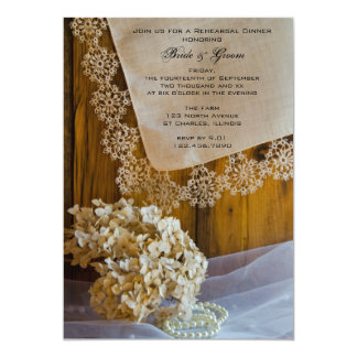 Country Lace and Flowers Wedding Rehearsal Dinner 5x7 Paper Invitation Card
