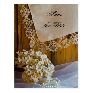 Country Lace and Flowers Wedding Save the Date Postcard