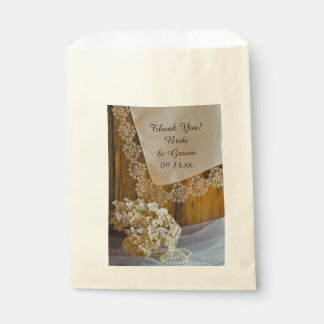 Country Lace and Flowers Wedding Thank You Favor Bags