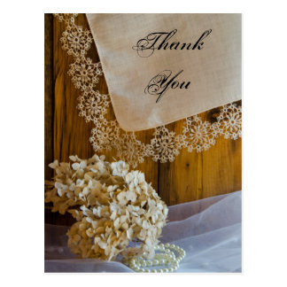 Country Lace and Flowers Wedding Thank You Postcard