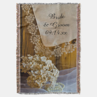 Country Lace and Flowers Wedding Throw