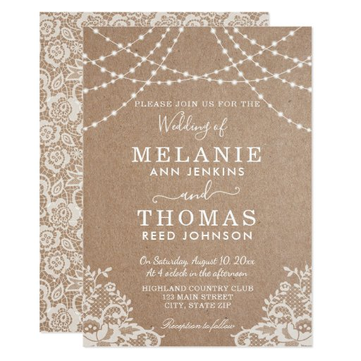 Country Lace and Kraft Wedding Invitation, Rustic Card