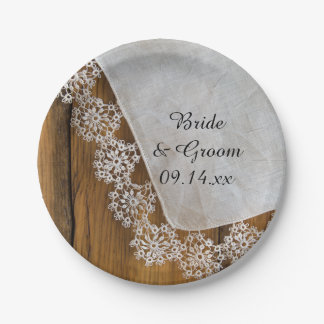 Country Lace and Rustic Barn Wood Wedding Paper Plate