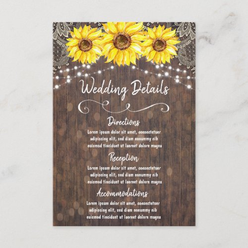 Country Lace and Sunflowers Wedding Details Card