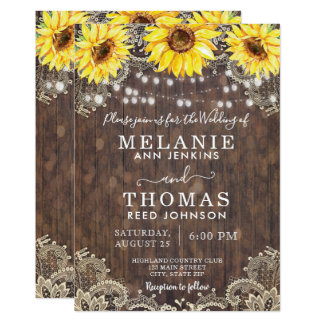 Country Lace and Sunflowers Wedding Invitations