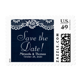 Country Lace & Denim, Save The Date Postage