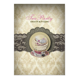 Country lace floral teacups Bridal Tea Party 5x7 Paper Invitation Card