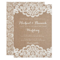 Country Lace Kraft Paper Wedding Invitation