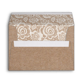 Country Lace Kraft Wedding Invitation Envelopes