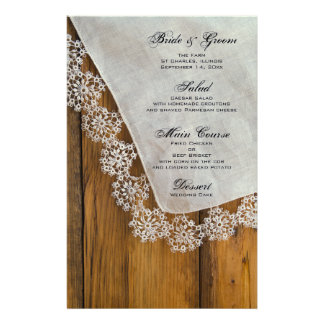 Country Lace Wedding Menu Customized Stationery