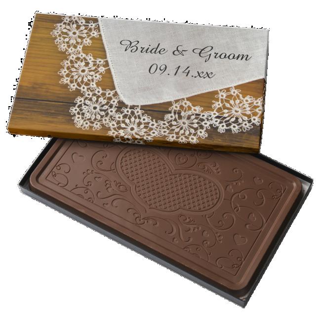 Country Lace Wedding 2 Pound Milk Chocolate Bar Box