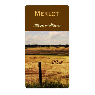 Country landscape wine bottle label