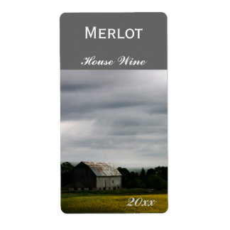Country landscape with barn wine bottle label