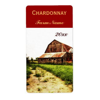 Country landscape with dilapidated barn label