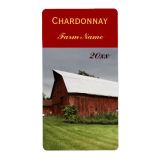 Country landscape with red barn wine bottle label