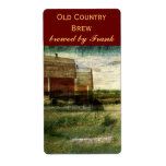 Country landscape with red barns beer bottle label shipping label