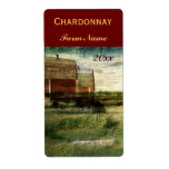 Country landscape with red barns wine bottle label