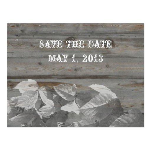 Country Leaves and Wood Gray Save the Date Postcard