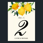 """Country Lemon and Flowers Table Number<br><div class=""""desc"""">You will love this beautiful customized table number card for your wedding featuring watercolor painted yellow lemons and green leaves, accented with dainty white flowers. The background is a very light yellow striped design. Use the template form to add your custom text. The &quot;customize further&quot; feature can be used to...</div>"""
