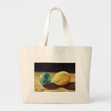 Beach Themed Country Lemon and Lime Large Tote Bag