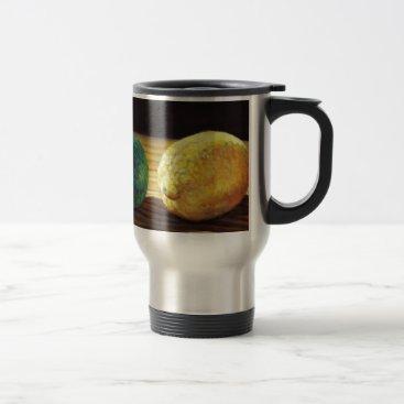 Beach Themed Country Lemon and Lime Travel Mug