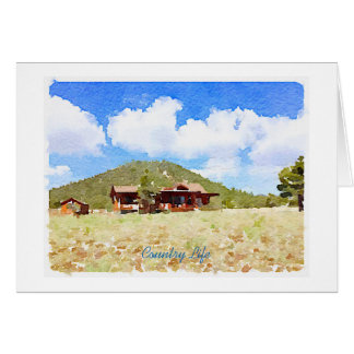 Country Life Cabins Watercolor Greeting Card