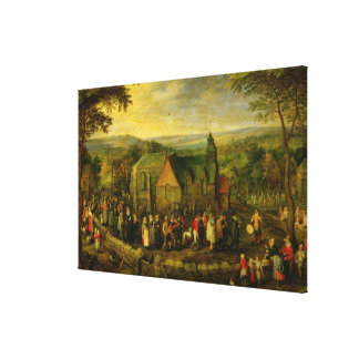 Country Life with a Wedding Scene Canvas Print