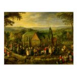 Country Life with a Wedding Scene Postcard