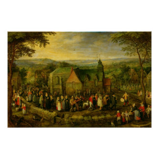 Country Life with a Wedding Scene Poster