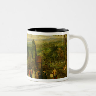 Country Life with a Wedding Scene Two-Tone Coffee Mug