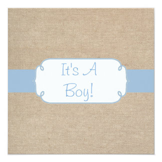 Country Light Blue and Beige Burlap Baby Shower Invitation
