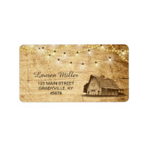 Country Lights large address label with barn